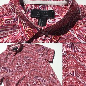 Men's 21MEN tribal printed short sleeve shirt